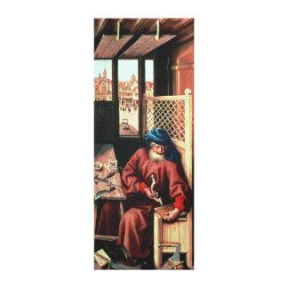 St. Joseph Portrayed als Middeleeuwse Timmerman Canvas Afdruk