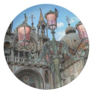 St Marques et lampe, Venise, Italie Assiettes En Mélamine