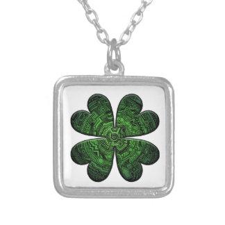 St. Patrick Dag Vier de Keltische Klaver/de Klaver Ketting Vierkant Hangertje