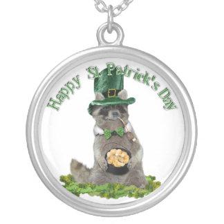 St Patrick de Gelukkige Wasbeer van de Dag Ketting Rond Hangertje