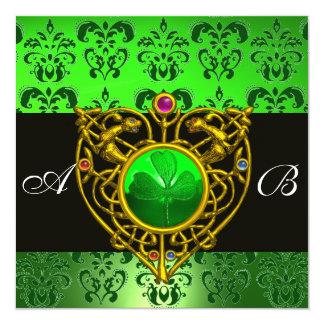 ST. PATRICK het KELTISCHE Monogram van het Damast 13,3x13,3 Vierkante Uitnodiging Kaart