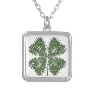 St. Patrick van de Klaver van vier Blad Dag Zilver Vergulden Ketting