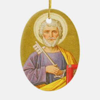 St Peter double face l'apôtre (PL 07a) Ornement Ovale En Céramique