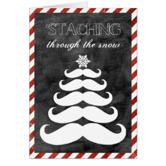 'Staching par la neige, carte de Noël