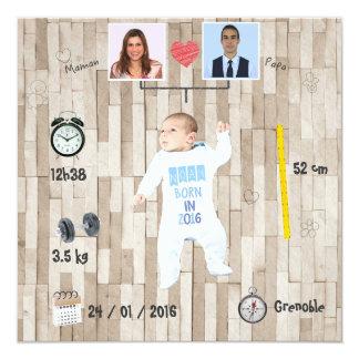 Stamboom ⎮ Kennisgeving van geboorte 13,3x13,3 Vierkante Uitnodiging Kaart