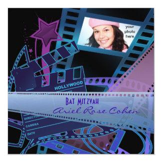 Star de Hollywood pourpre de photo de bat mitzvah Carton D'invitation 13,33 Cm