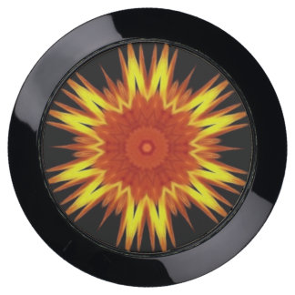 Station De Chargement USB Kaléidoscope jaune-orange de flambage de mandala