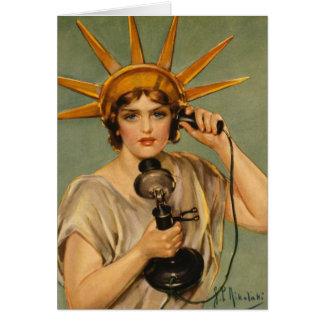 Statue de la liberté vintage, annonce patriotique carte