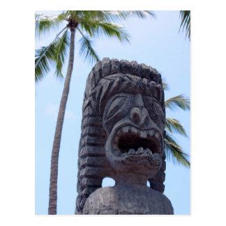 Statue de Tiki dans Kona, Hawaï - carte postale