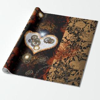 Steampunk, beau coeur avec des vitesses et des papier cadeau