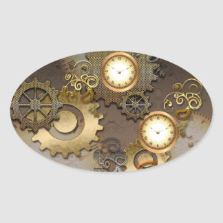 Steampunk, horloges et vitesses sticker ovale