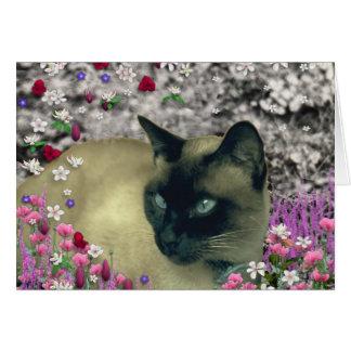 Stella en fleurs I - chat siamois crème de Carte