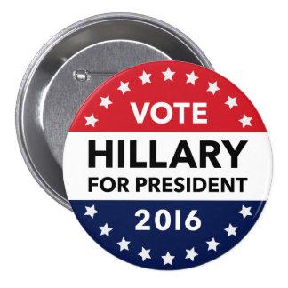Stem Hillary Clinton voor Speld 3 van het Ronde Button 7,6 Cm