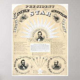 Ster 1864 van het Acrostichon van Lincoln van het  Afdruk