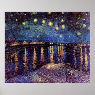 Sterrige nacht over de Rhône door Van Gogh Poster