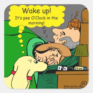 Sticker Carré 881 heures de pipi dans la bande dessinée de matin