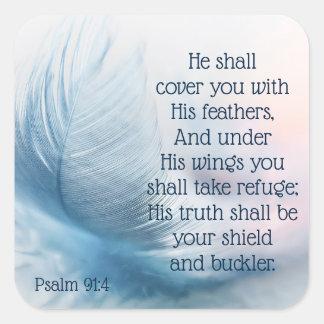 Sticker Carré 91:4 élevant inspiré de psaume sous ses ailes