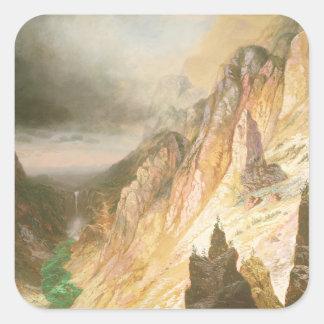 Sticker Carré Abaissez les automnes, canyon grand du Yellowstone