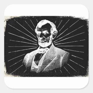 Sticker Carré Abraham Lincoln grunge