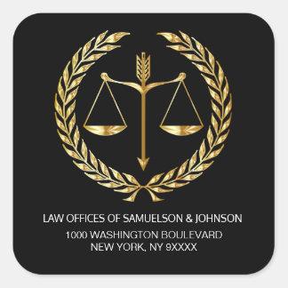 Sticker Carré Adresse de retour d'or de noir de justice de