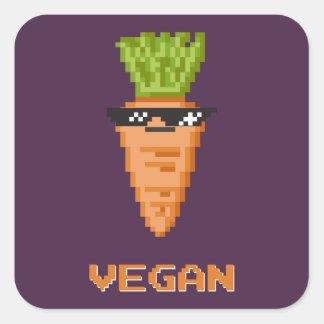 """Sticker Carré """"Affaire végétalienne avec elle"""" carotte"""