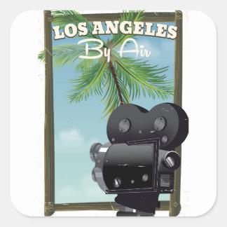 Sticker Carré Affiche de voyage d'appareil-photo de film de Los
