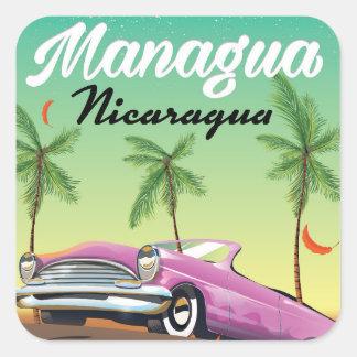Sticker Carré Affiche de voyage de Managua - du Nicaragua
