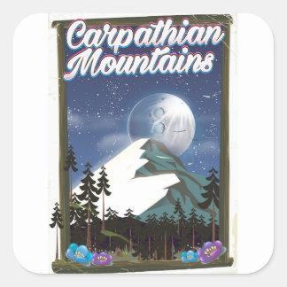 Sticker Carré Affiche de voyage de montagnes carpathiennes
