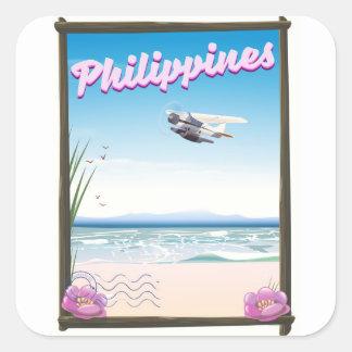 Sticker Carré Affiche de voyage de Philippines