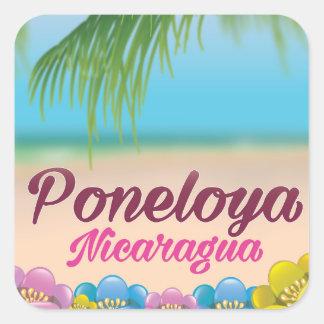 Sticker Carré Affiche de voyage de plage de Poneloya Nicaragua