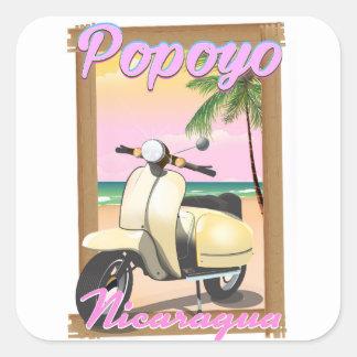 Sticker Carré Affiche de voyage de plage de Popoyo Nicaragua
