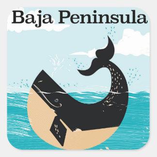 Sticker Carré affiche de voyage du Mexique de péninsule de baja