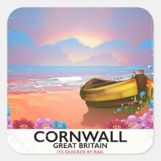 Sticker Carré Affiche vintage de voyage de bateau de pêche des