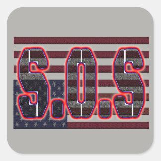 Sticker Carré Aide de S.O.S