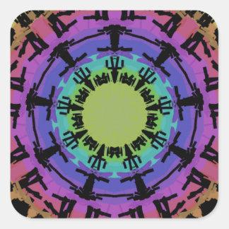 Sticker Carré Ajustements ronds de mandala sur une forme carrée