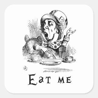 Sticker Carré Alice au pays des merveilles - mangez-moi