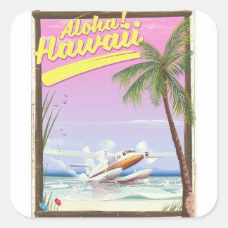Sticker Carré Aloha ! Affiche vintage de voyage de style d'Hawaï