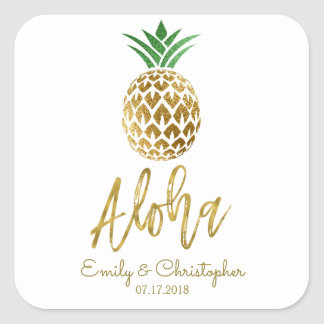 Sticker Carré Aloha ananas hawaïen tropical épousant le blanc