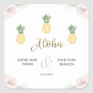 Sticker Carré Aloha mariage de plage tropical d'ananas