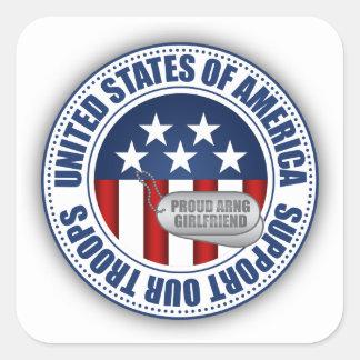 Sticker Carré Amie fière de garde nationale d'armée