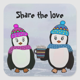 Sticker Carré Amitié de pingouin