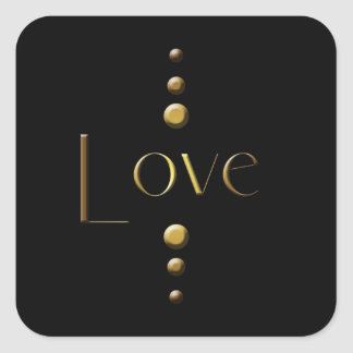 Sticker Carré Amour de bloc d'or de 3 points et arrière - plan