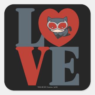 Sticker Carré AMOUR de Catwoman de Chibi