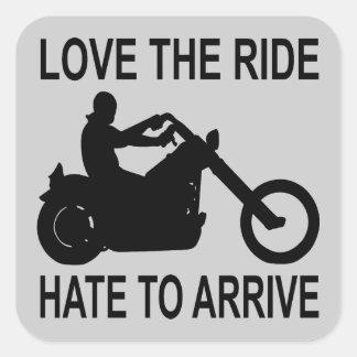 Sticker Carré Amour de cycliste la haine de tour à arriver