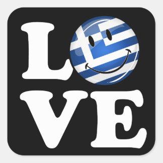 Sticker Carré Amour de drapeau de sourire de la Grèce