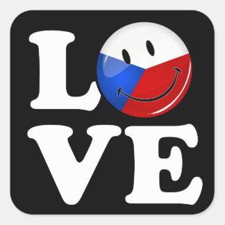 Sticker Carré Amour de drapeau de sourire de République Tchèque