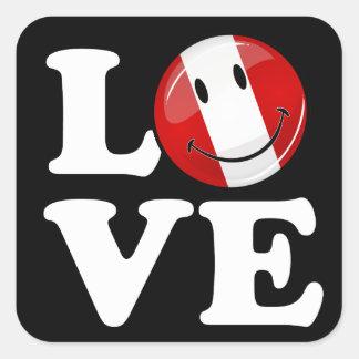 Sticker Carré Amour de drapeau péruvien de sourire du Pérou