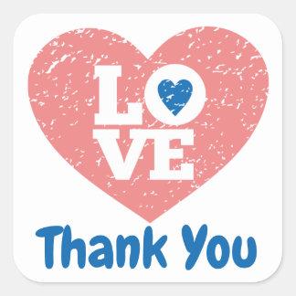 Sticker Carré Amour grunge de mariage de coeur rose de Merci