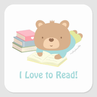 Sticker Carré Amours mignons d'ours de nounours pour lire des