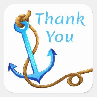 Sticker Carré Ancre nautique de bateau de bleu de turquoise de